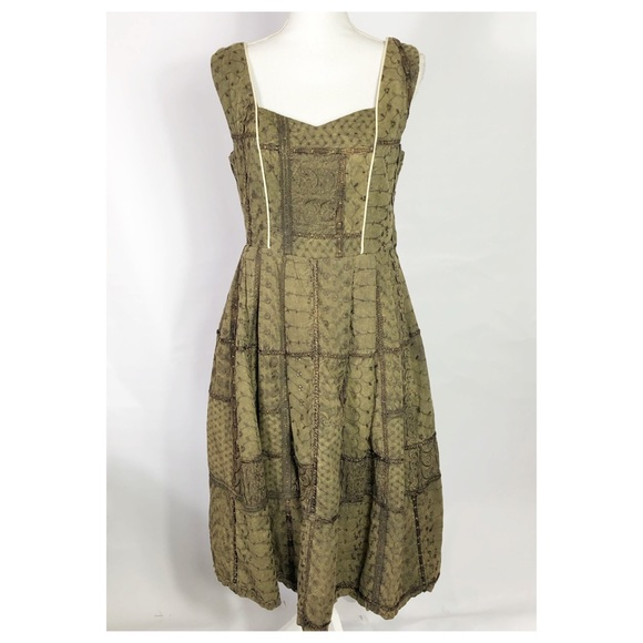 Handmade Dresses & Skirts - Handmade Fit and Flair Olive Green Patchwork Dress